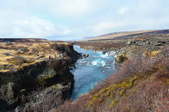 Beauty waterfall Hraunfossar on the Iceland Royalty Free Stock Photography