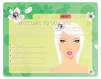 Beauty website template with beautiful girl Stock Photography