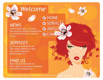 Beauty website template with beautiful girl Stock Images