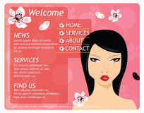 Beauty website template with beautiful girl Stock Image