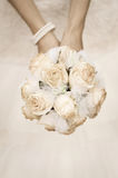 Beauty wedding bouquet of roses in a bride hands Royalty Free Stock Photography