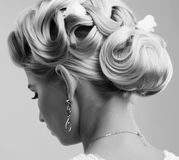 Beauty wedding hairstyle. Bride Royalty Free Stock Photography