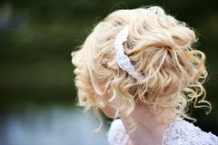 Beauty wedding hairstyle with hairpin Royalty Free Stock Images