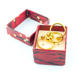 The beauty wedding ring in red box Stock Image