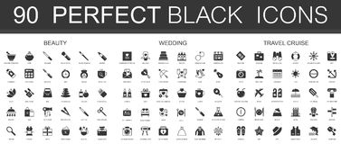 Beauty, wedding, travel vacation cruise black classic icon set. Stock Photo