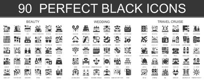 90 beauty, wedding, travel cruise classic black mini concept symbols. Vector modern icon pictogram illustrations set. 90 beauty, wedding, travel cruise classic royalty free illustration