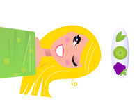 Beauty wellness girl with healthy skin. Happy blond girl relaxing and applying fruit vitamins on skin. Vector Illustration Stock Photo