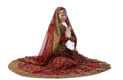 Beauty white woman in traditional indian costume Stock Photos