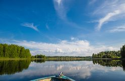 View from a boat on a lake in wild Russian land. stock image