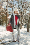 Beauty winter girl. Girl in nature, winter season with snow Royalty Free Stock Image