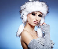 Beauty winter girl Stock Photos