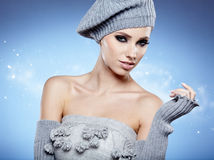 Beauty winter girl. On the blue  background Royalty Free Stock Images