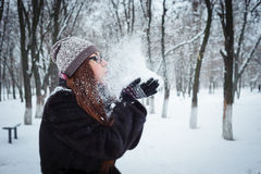 Beauty Winter Girl Blowing Snow in frosty winter Park Royalty Free Stock Image