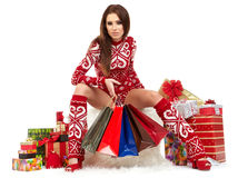 Beauty winter girl with christmas gift Stock Images