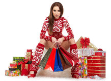 Beauty winter girl with christmas gift Royalty Free Stock Photos