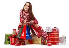 Beauty winter girl with christmas gift Stock Image
