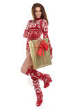 Beauty winter girl with christmas gift. A beauty winter girl with christmas gift Stock Photos