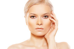 Beauty With Natural Day Make-up Touching Her Face Stock Image