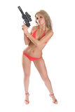 Beauty With Weapon Stock Photo