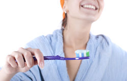 Beauty woman. Young beauty woman clean teeth royalty free stock image