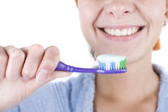 Beauty woman. Young beauty woman clean teeth stock photo