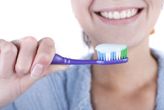 Beauty woman. Young beauty woman clean teeth stock photos