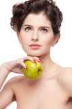 Beauty woman and apple. Royalty Free Stock Photo