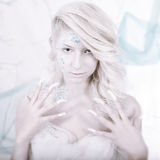 Beauty woman as snow queen in winter Stock Images