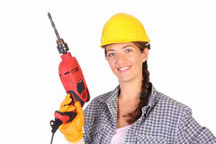 Beauty woman with auger stock image