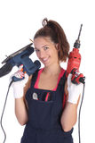 Beauty woman with auger and sander Stock Images