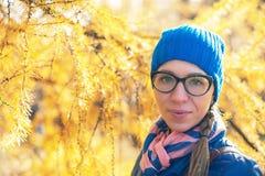 Beauty woman at autumn park Stock Photo