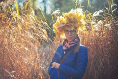 Beauty woman at autumn park Stock Images