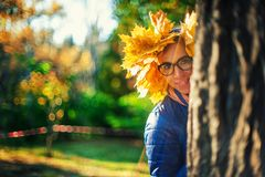 Beauty woman at autumn park Royalty Free Stock Images