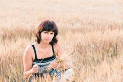Beauty woman in barley field Stock Photos