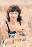 Beauty woman in barley field Stock Photo