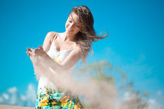 Beauty woman on the beach Royalty Free Stock Photography