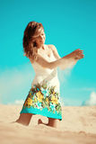 Beauty woman on the beach. Stylish beautiful young smiling girl Royalty Free Stock Photography