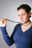 Beauty woman with beads Stock Image