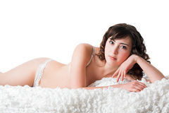 Beauty woman in the bed Royalty Free Stock Photography