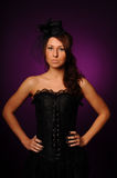 Beauty woman in black corset Royalty Free Stock Images