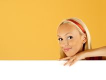 Beauty woman and blank sign Stock Photography