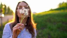 Beauty woman blowing dandelion against the sunset, slow motion. Beauty young woman blowing white dandelion against the sunset, slow motion stock footage