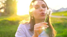 Beauty woman blowing dandelion against the sunset. Beauty young woman blowing white dandelion against the sunset stock video