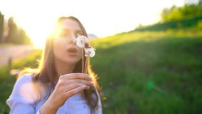 Beauty woman blowing dandelion against the sunset. Beauty young woman blowing white dandelion against the sunset stock footage