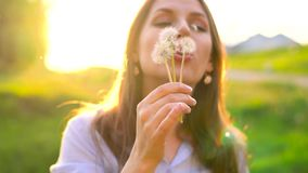 Beauty woman blowing dandelion against the sunset. Beauty young woman blowing white dandelion against the sunset stock video footage