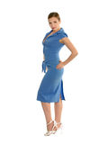 Beauty woman in blue dress. Royalty Free Stock Photos