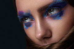 Beauty Woman with blue Eyes Makeup Art. Beauty Woman with blue Eyes, Makeup Face Art and Hairstyle Royalty Free Stock Images