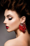 Beauty woman with blue eyes and red lips. Royalty Free Stock Photos