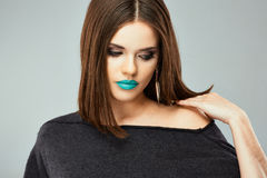 Beauty woman with blue lips Stock Photography