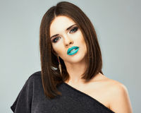 Beauty woman with blue lips Royalty Free Stock Photography